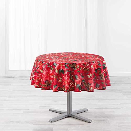 nappe ronde (0) 180 cm polyester imprime la rosiere rouge