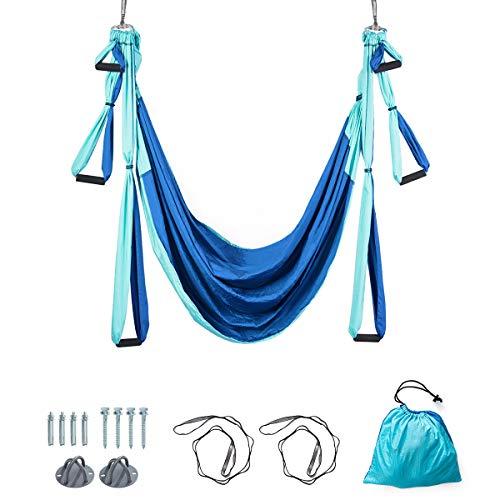 COSTWAY Aerial Yoga Hängematte, Yoga Schaukel, Air Fliegen Hängematte Set, Yogatuch mit Montagezubehör (Blau)