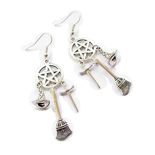 1 colgante de Wiccan, pagan, pendientes de bruja, espada, sombrero de bruja, pendientes de gota de pentáculo