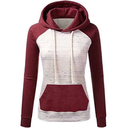 Giacca con Zip da Donna Felpa con Cappuccio Casual Elegante Manica Lunga Crop Top Sportivo Allenamento Fitness Yoga Pullover Maglione Camicette Autunno Inverno ( L,3Rosso )