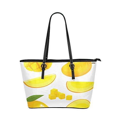 Reife gelbe Mango Frucht große weiche lederne tragbare Handgriff Handhandbeutel beutet kausale Handtaschen mit Reißverschluss Schulter Einkaufen Geldbeutel Gepäck für die Arbeit der Dame Mädchen