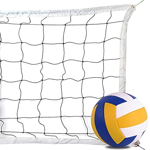 Redes de Voleibol + Talla 5 Voleibol, Red de Entrenamiento de Voleibol portátil, Plegable y Duradera para Deportes al Aire Libre en Patios Traseros, Piscinas, Playas y Otras instalaciones