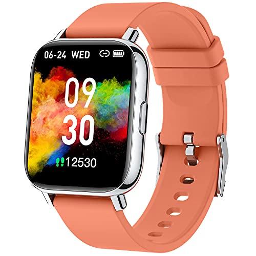 """Smartwatch Naranja, 1.69"""" Reloj Inteligente Hombre Mujer 24 Modos Deporte IP68 Impermeable Reloj Deportivo Hombre con Pulsómetro Monitor de Sueño Monitores Cronómetro Calorías Podómetro (Android/iOS)"""