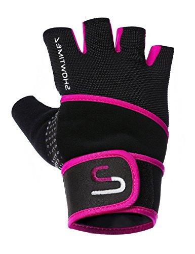 Showtime Damen Fitnesshandschuhe Handgelenkstütze Grips für Training – Schwarz/Lila – M - 3