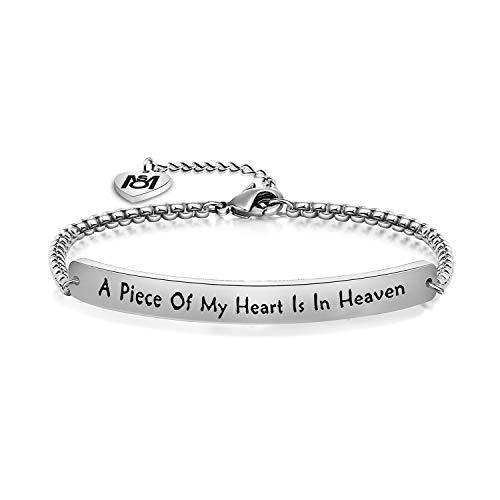 MYOSPARK A Piece of My Heart Is In Heaven Memorial Bracelet Hand stamped Bracelet Loss Memorial Gift (Sliver bracelet)