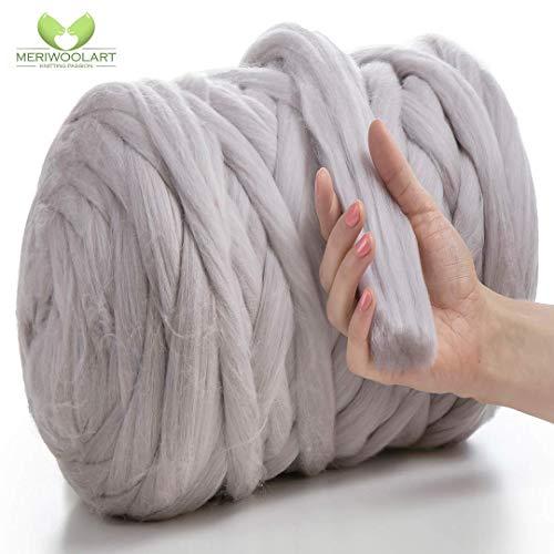 MeriWoolArt 100% merinowol voor breien en haken met 4-5 cm dik garen | dikke merinowol voor XXL sjaal, deken & kussens 4,5Kg Rolle Satijngrijs