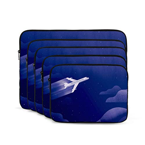 Plane Across The Sky Laptop Sleeve 15 inch, Shock Resistant Notebook Briefcase, Computer Protective Bag, Tablet Carrying Case for MacBook Pro/MacBook Air/Asus/Dell/Lenovo/Hp/Samsung/Sony