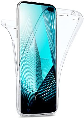 moex Double Hülle für Samsung Galaxy S10 Plus Hülle Silikon Transparent, 360 Grad Full Body R&um-Schutz, Komplett Schutzhülle beidseitig, Handyhülle vorne & hinten - Klar