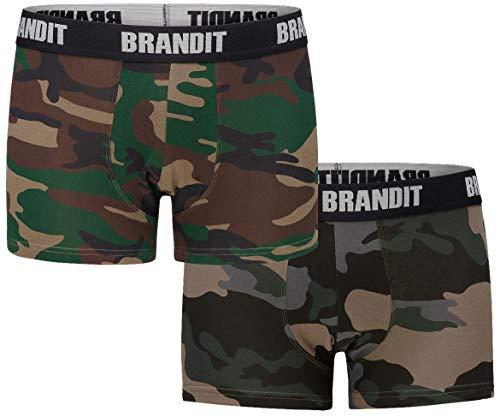 Brandit Boxershort Logo, 2er Pack, Woodland und darkcamo, Größe M