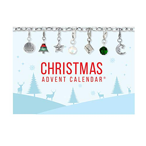 Collection Bijoux 100 Advent Calendar Set Christmas Cheer 22 Charms with 1 Bracelet and 1 Necklace
