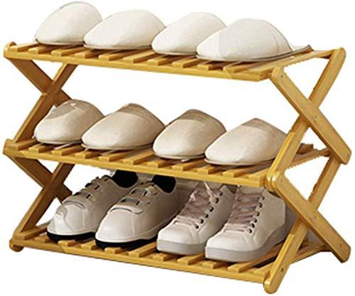 ZFFSC schoenenrek schoenenrek bank met zitplaats wonen gang bamboe schoenenkast slaapkamer 3-laags vouwframe (kleur: houtkleur, grootte: 70 * 31 * 38cm) 70 * 31 * 38cm Wood Color
