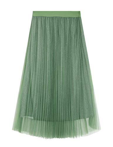 Elf zak dames plisseerok metallic high waist A-lijn Midi vouwrok glitter prinses tule rok