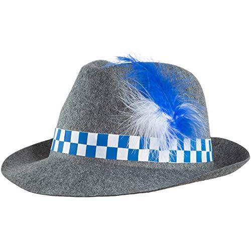 dressforfun 302848 Trachtenhut mit Feder, Sepplhut für Oktoberfest, Trachten Party, grau blau weiß