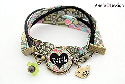 Bracelet Cadeau pour Atsem - Merci ATSEM - récré école - vert rose liberty oiseau cabochon idée cadeau fin d'année
