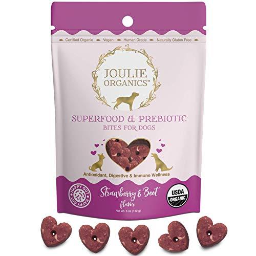 Joulie Organics - Superfood & Prebiotic Organic Dog Treats | Human Grade | USA Made | Plant-Based | Supports Digestive & Immune Health (Strawberry & Beet)