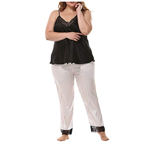Best Buy! Hli-SHJHsmu Women's Plus Size Lace Patchwork V Neck Top + Striped Pants Sleepwear Outfits ...
