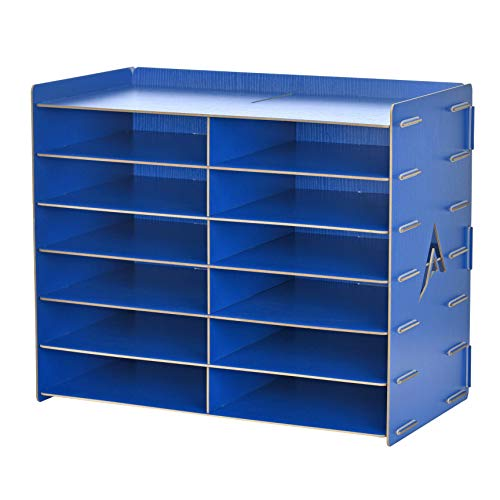 AdirOffice Wood Paper Storage Organizer - Construction Paper Storage - Vertical File Mail Sorter - A Stylish Look for Home, Office, Classroom and More - Blue (12 Compartment)