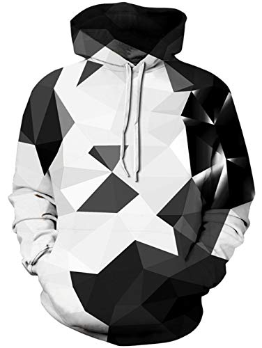 Loveternal Geometrisch Pullover Herren 3D Kapuzenpul Geometric Hoodie Langarm Fleece Pullover Sweatshirt für Teen Jungen Mädchen L