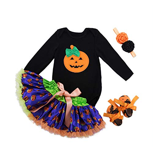 Bmeigo Infantile bambines Halloween Manica Lunga Jumpsuit tutù Gonnas Fascia di Capelli And Scarpe