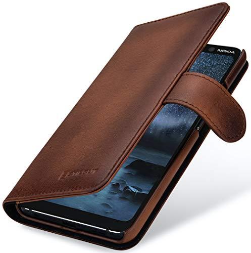 StilGut Talis kompatibel mit Nokia 9 PureView Hülle mit Kartenfach aus Leder, Wallet Hülle, Lederhülle mit Fächern und Magnet-Verschluss - Braun Antik