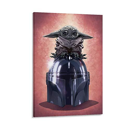 SSKJTC Arte de pared para decoración del hogar, decoración de pared de Star Wars El mandaloriano lindo bebé Yoda sentado en casco, 1 pieza moderna decoración del hogar 60 x 90 cm