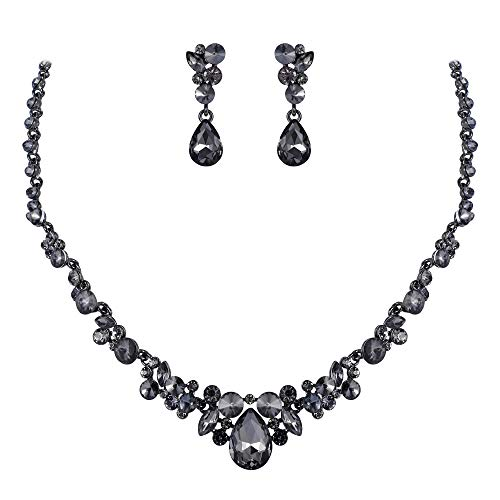 EVER FAITH Women's Rhinestone Crystal Elegant Wedding Floral Teardrop Necklace Earrings Set Grey Black-Tone