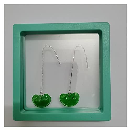 WERWER Earings Silver Natural Jasper Jade Pendientes for Mujeres Emeralda Traje Joyería Siling Silver Vintage Qian Qing Ruyi (Gem Color : Brown, Metal Color : Antique Silver)