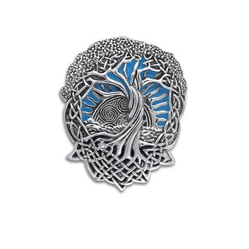 Blazing Sun in Blue Sky - Interconnected Celtic Knot Tree and Roots of Life Sterling Silver Slide Pendant