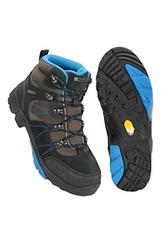 Mountain Warehouse Edinburgh Vibram Youth Wasserfeste Kinder Stiefel - Atmungsaktive, leichte Wanderstiefel, Netzfutter, strapazierfähige Regenstiefel. Wanderschuhe Blau 33