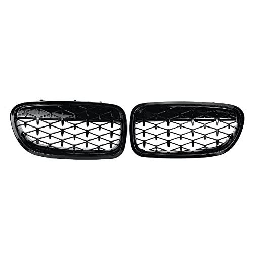 ZMJNB Ridney Grill, para BMW E39 G30 G38 F10 F11 E36 E90 E91 2005-2008 Gloss Gloss Black Fibra de Carbono Par Frontal 2 Línea Llantas Doble,F10 f11 f18 09_17 10