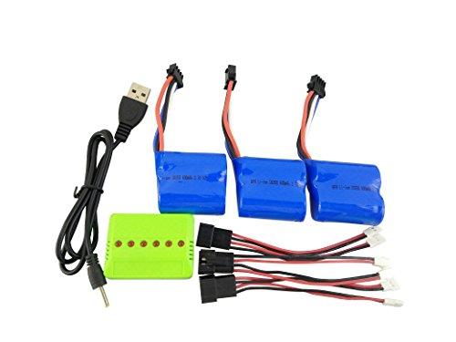 ZYGY 3PCS 3.7V 600mah Lipo Batterie 3in1 Caricabatterie per UDI R/C UDI001 UDI008 RC Barca Pezzi di Ricambio Droni Batterie