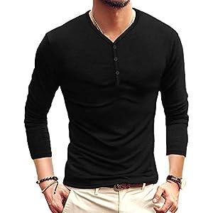 Men's Long and Short Sleeve Henleys T-Shirts Buttons Placket Plain Summer Cotton Shirts
