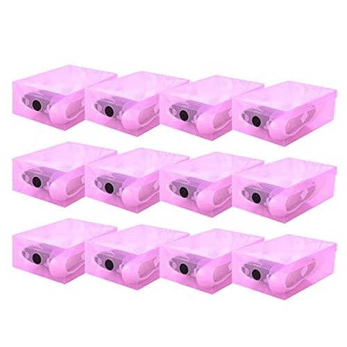 Caja de zapatos apilable, 12 unids Caja de zapatos de plástico Zapatos Cajas de almacenamiento Organizador de almacenamiento de zapatos Transparente Caja clara Funda plegable Soporte de calzado Organi
