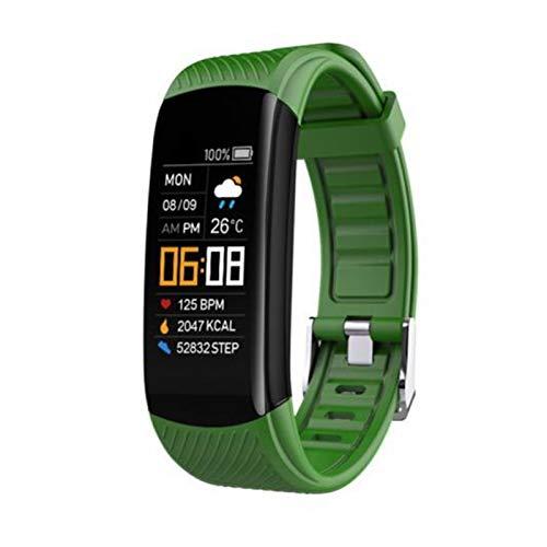 LYB C5S Bluetooth Impermeable Ritmo Cardíaco Monitor De Sueño Monitor De Acondicionamiento Físico Deportes Inteligentes Pulsera Táctil Multifuncional Pulsera Inteligente (Color : Green)
