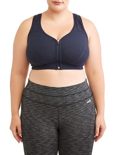 Athletic Works Women's Plus Size Zipper Front Sports Bra, Black, 2X