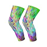 Knee Sleeve Hippie Colorful Full Leg Brace Compression Long Sleeves Pads Socks for Meniscus Tear, Arthritis, Running, Workout, Basketball, Sports, Men and Women 1 Pair