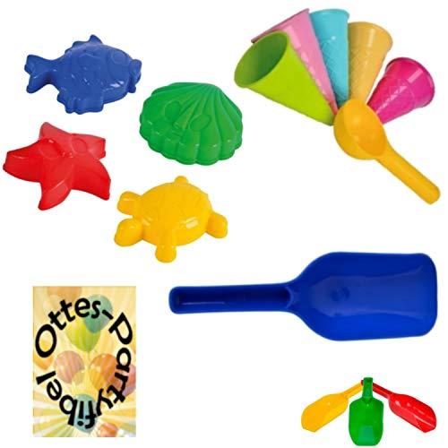 HHO Sandspielzeug: 4 Sandförmchen + 5 Eistüten + 1 Portionierer + 2 Sandschaufel Sandkasten Kindergarten
