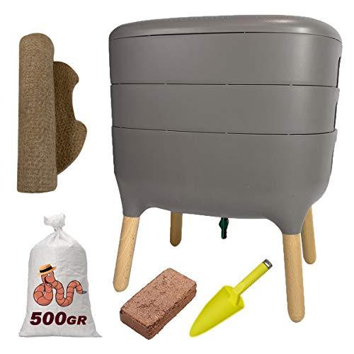 Urbalive - Kit completo I Design Wormery I 500 gr de compost Worms I Starter Sustrato I Alfombra de cáñamo + Pala I Interior, balcón y jardín