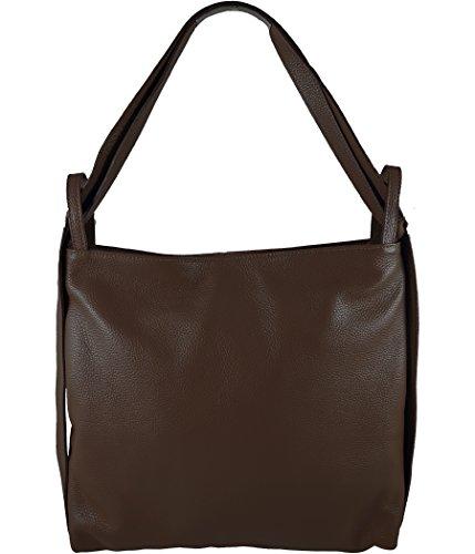 Freyday 2in1 Damen Handtasche Rucksack Designer Luxus Henkeltasche aus 100% Echtleder HR01 (Dunkelbraun)