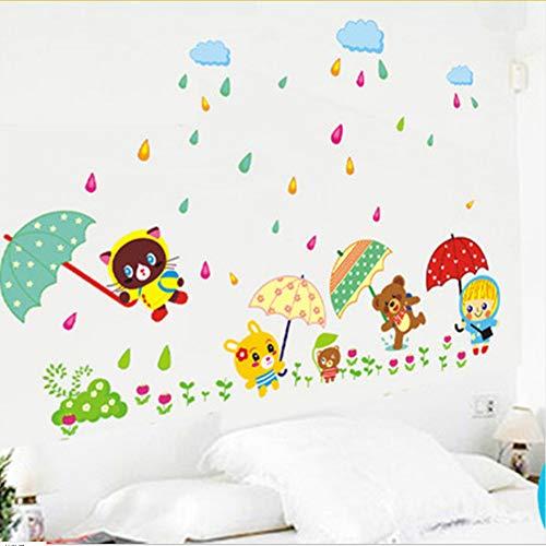 Wall Stickers Kinderzimmer Kindergarten Kreative Geschmack Wandaufkleber Selbstklebende Regenschirm Cartoon Tier Tv Wand Wand Dekorative Aufkleber