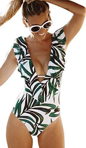 Sporlike Women One Piece Swimsuit V Neck Ruffle Bathing Suit Monokini Leaves White XL product image