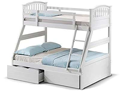 White triple bunk bed frame + pack of drawers.3ft single on top,4ft6 double below kids frame