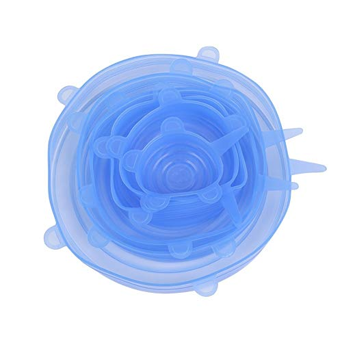 6 stuks vervalsen Silicone Deksels Clear Luchtdicht Opslag Van Voedsel Covers Herbruikbare Bowl Cover for Pots Cups for het houden van voedsel reinvigorated vaatwasmachine en vriezer 6 Pack van versch