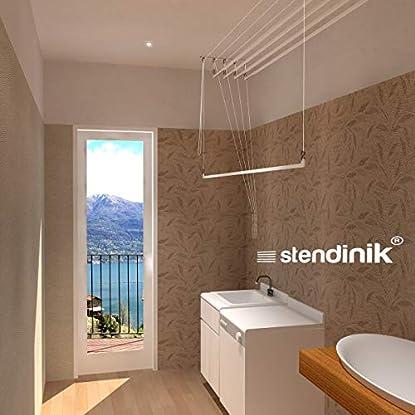 Foto di Stendibiancheria salvaspazio da soffitto sali scendi ultraresistente 5 aste (150 cm)