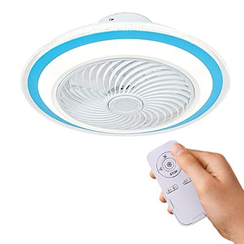 Ventilador de techo con iluminación Luz LED Control remoto Regulable Velocidad del viento Ventilador silencioso Ventilador invisible Luz de techo LED para dormitorio Sala de estar Comedor, Ф50cm(Col