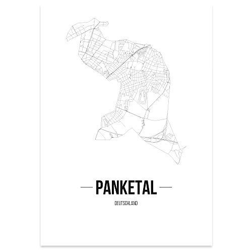 JUNIWORDS Stadtposter - Wähle Deine Stadt - Panketal - 60 x 90 cm Poster - Schrift B - Weiß