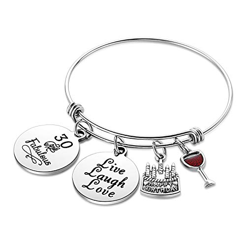 Birthday Gifts for Her Expandable Bangle Birthday Bracelets For Women Charm Bracelet Happy Birthday Jewelry Gift Ideas (30th Birthday)