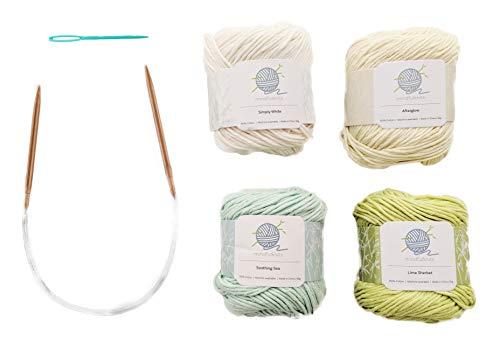 Mindfulknits Kit de tejer para principiantes con agujas de tejer, agujas de hilo e hilo de tejer 100% algodón (4) - para relajación y alivio del estrés ... (Zen)