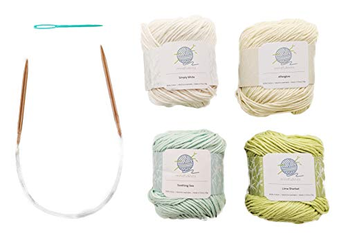 mindfulknits Beginner's Knitting Kit with Knitting Needles, Yarn Needles & 100% Cotton Knitting Yarn (4) – Zen Beginners Basic Knitting Supplies Set for Relaxation & Stress Relief