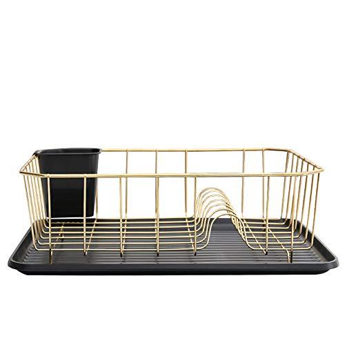 Afdruiprek lekbak van roestvrij staal en een plastic schaal afdruipvlak rechtse staander is ideaal voor wonen, geschikt voor gebruik in wastafels